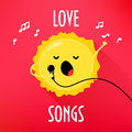 Cartoon sun with microphone sings love songs. Cute music card for karaoke album. Flat style. Vector illustration Royalty Free Stock Photo