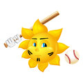 Cartoon sun is playing baseball isolated on white background Royalty Free Stock Photography