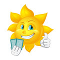 Cartoon sun is playing blackjack isolated on white background Royalty Free Stock Photos
