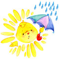 Cartoon sun and rain watercolor illustration Royalty Free Stock Photo