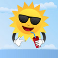 Cartoon Sun with Sunglasses Stock Photos