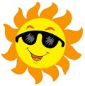 Cartoon Sun with sunglasses Royalty Free Stock Photo