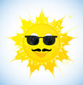 Cartoon sun in sunglasses illustration on white background Stock Images