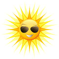 Cartoon sun with sunglasses isolated on white Stock Image