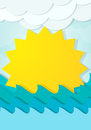 Cartoon sun in the waves this is file of eps format Royalty Free Stock Images