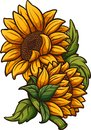 Cartoon sunflower plant with two flowers Royalty Free Stock Photo