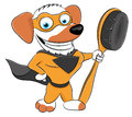 Cartoon super dog on white background Royalty Free Stock Image