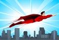 Cartoon Super hero flying over a city