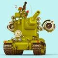 Cartoon Super Tank. 3D Illustration.