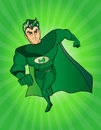 A cartoon superhero character with a green cape and costume
