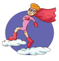 Cartoon of a superhero stepping on clouds