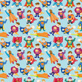 Cartoon superman seamless pattern Royalty Free Stock Photos
