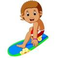 Cartoon surfer boy Royalty Free Stock Photo