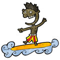 Cartoon surfer man Royalty Free Stock Images