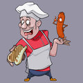 Cartoon surprised man cook holding a bread and a sausage