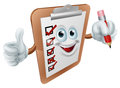 Cartoon survey man a clipboard mascot giving a thumbs up and holding a pencil Royalty Free Stock Photography