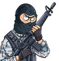 Cartoon SWAT member with a gun Stock Photo