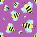 Cartoon sweet yellow bee summer worker bug hand drawn seamless pattern honey nature .