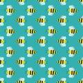 Cartoon sweet yellow bee summer worker bug hand drawn seamless pattern honey nature nector.