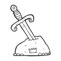 Cartoon sword in stone black and white line retro style vector available Stock Photography