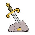 Cartoon sword in stone hand drawn illustration retro style vector available Royalty Free Stock Images
