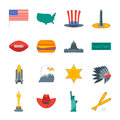 Cartoon Symbol of America Color Icons Set. Vector