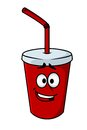 Cartoon takeaway soda in a colourful red mug with a straw and happy smiling face vector illustration Royalty Free Stock Image