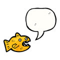 Cartoon talking fish retro with texture isolated on white Royalty Free Stock Image