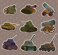 Cartoon Tank/Cannon Weapon stickers Royalty Free Stock Image
