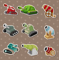 Cartoon Tank and Cannon Weapon stickers Stock Image