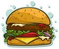 Cartoon tasty big hamburger vector sticker icon