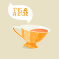 Cartoon teacup on grey background Royalty Free Stock Image