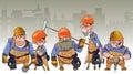 Cartoon team of men in helmets and clothing workers-builders