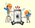 Cartoon technicians repairing smartphone broken smartphone
