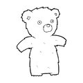 Cartoon teddy bear black and white line in retro style vector available Stock Photo