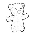 Cartoon teddy bear black and white line in retro style vector available Stock Photos