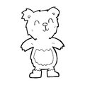Cartoon teddy bear black and white line in retro style vector available Royalty Free Stock Photography