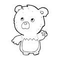 Cartoon teddy bear black and white line in retro style vector available Stock Photography