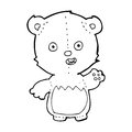Cartoon teddy bear black and white line in retro style vector available Stock Image
