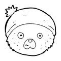 Cartoon teddy bear face black and white line in retro style vector available Stock Image