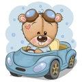 Cartoon Teddy Bear in glasses goes on a Blue car Royalty Free Stock Photo