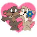 Cartoon teddy in love.valentine card