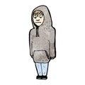 Cartoon teenager in hooded sweatshirt Stock Image