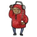 Cartoon teenager in hooded sweatshirt Royalty Free Stock Photos