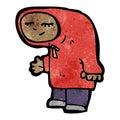Cartoon teenager in hooded sweatshirt Stock Photos
