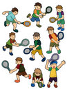 Cartoon Tennis Players icon Stock Images