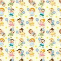 Cartoon Tennis Players seamless pattern Royalty Free Stock Photo
