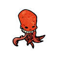 Cartoon tentacle skull monster Royalty Free Stock Photography