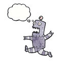 cartoon terrified robot with thought bubble Royalty Free Stock Photo
