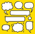 Cartoon text balloons, speech bubbles doodle vector set. Empty word comic shapes of thinking or speaking. Illustrations